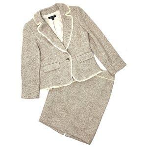 [Ann Taylor] gold metallic tweed skirt suit set